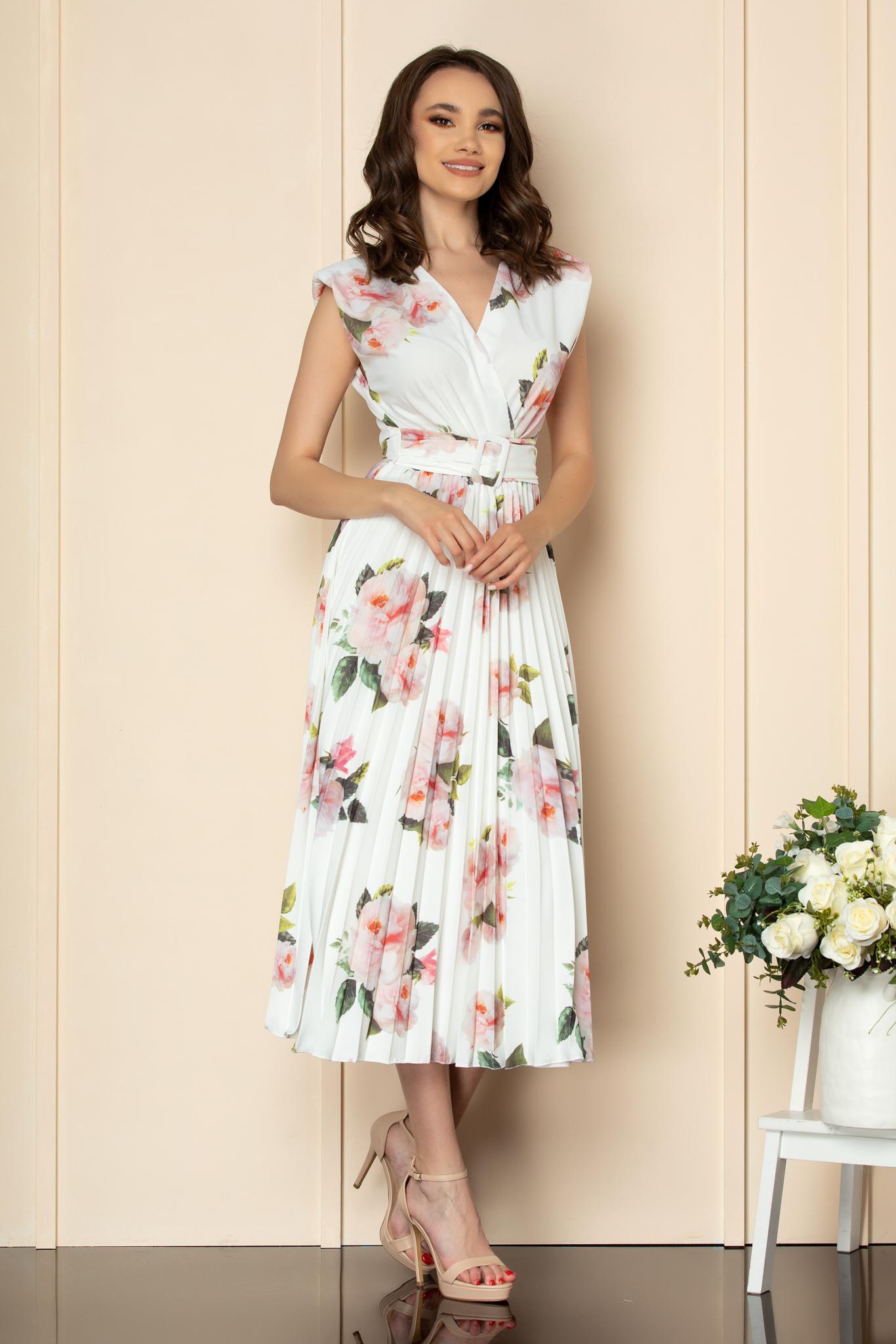 Rochie Carmen Alb Floral