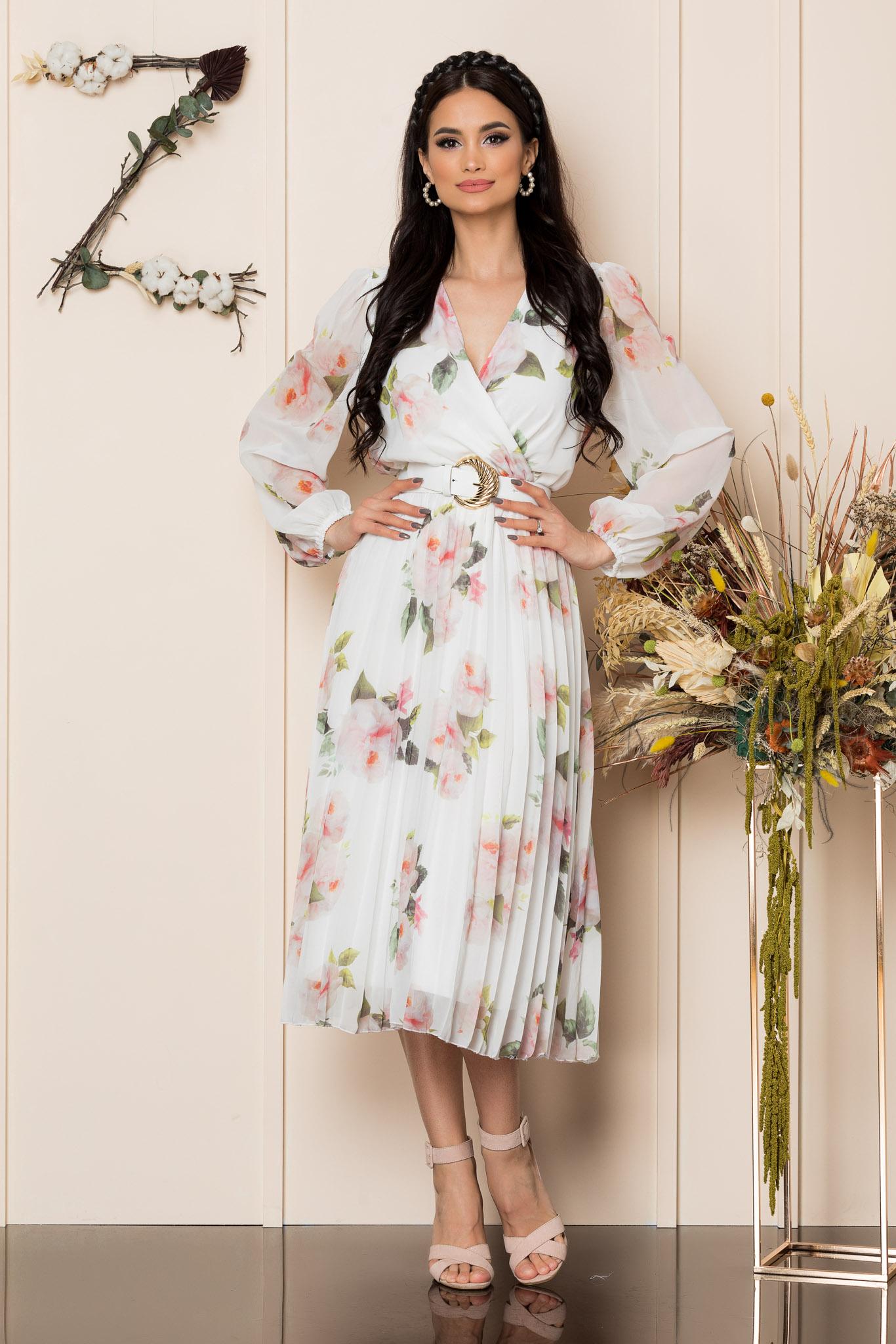 Rochie Ingrid Alb Floral