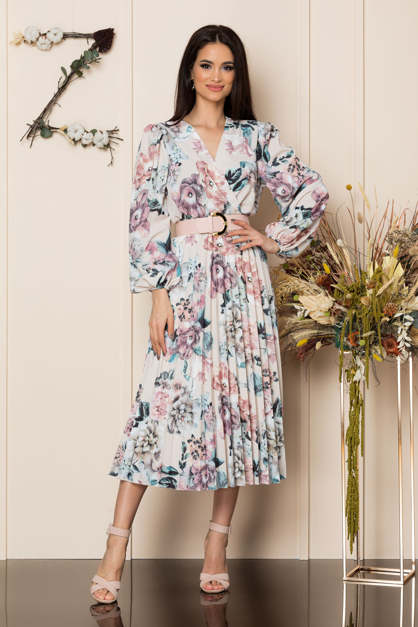 Rochie Malina Nude Floral