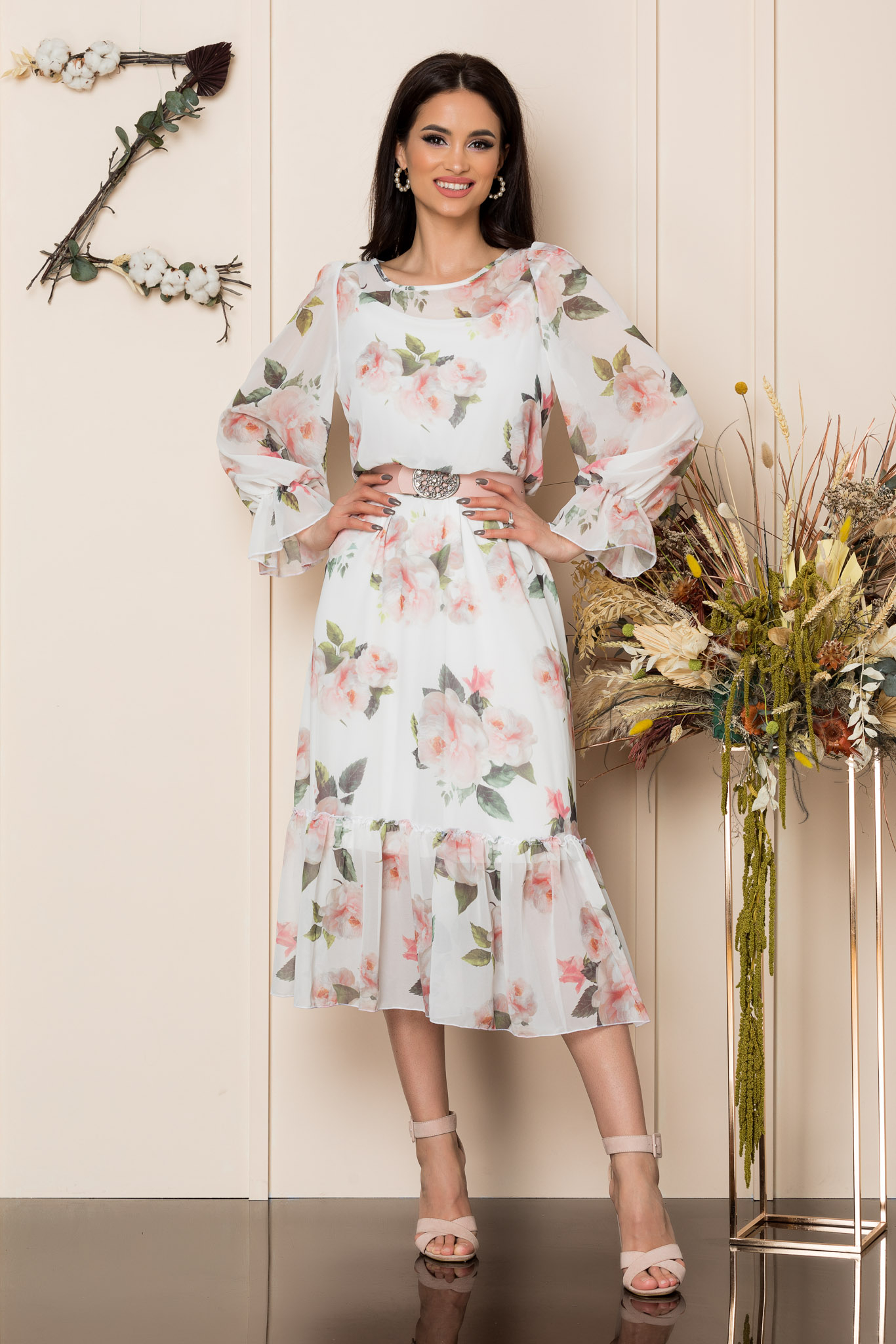 Rochie Melanie Alb Floral