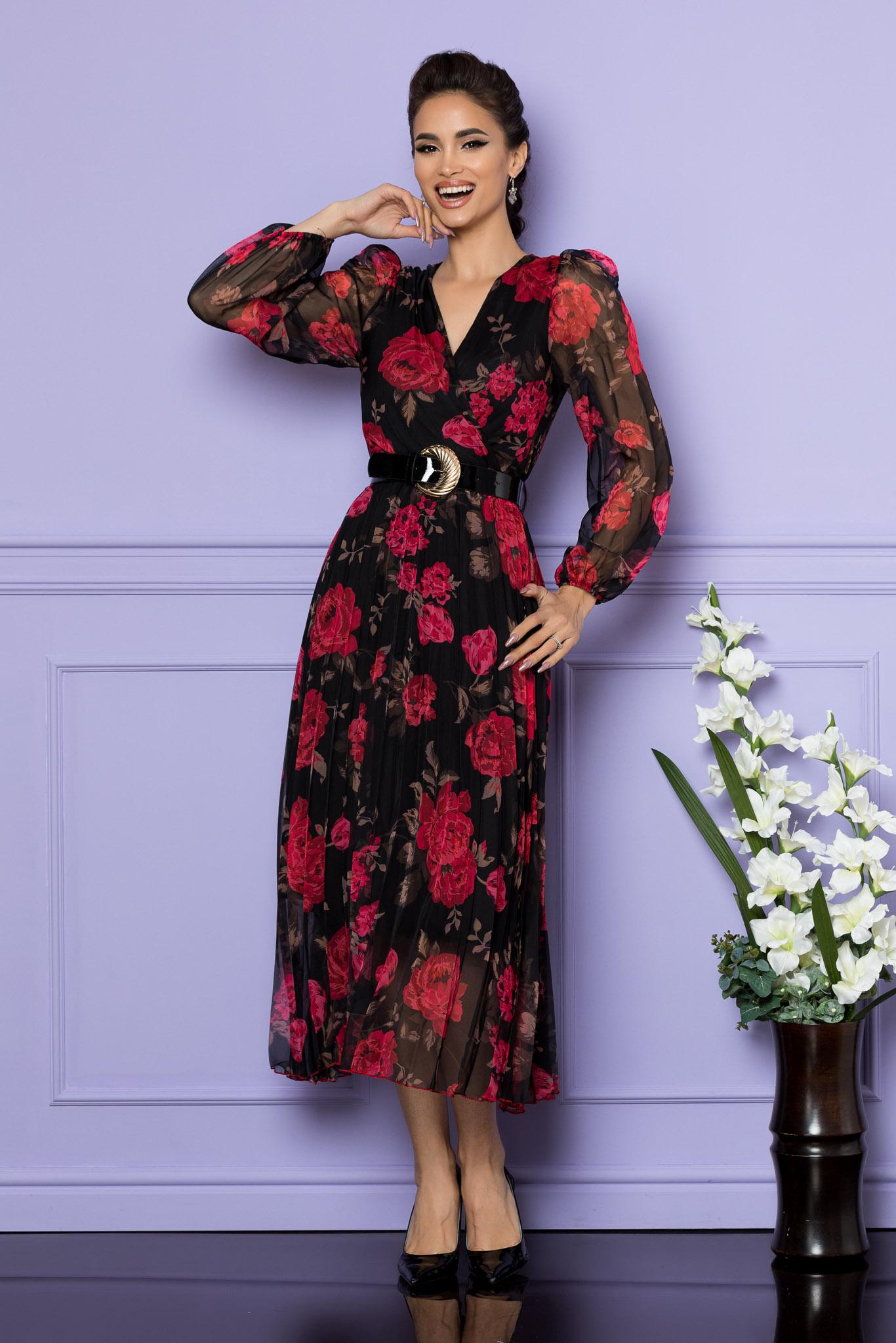 Rochie Ingrid Negru Floral