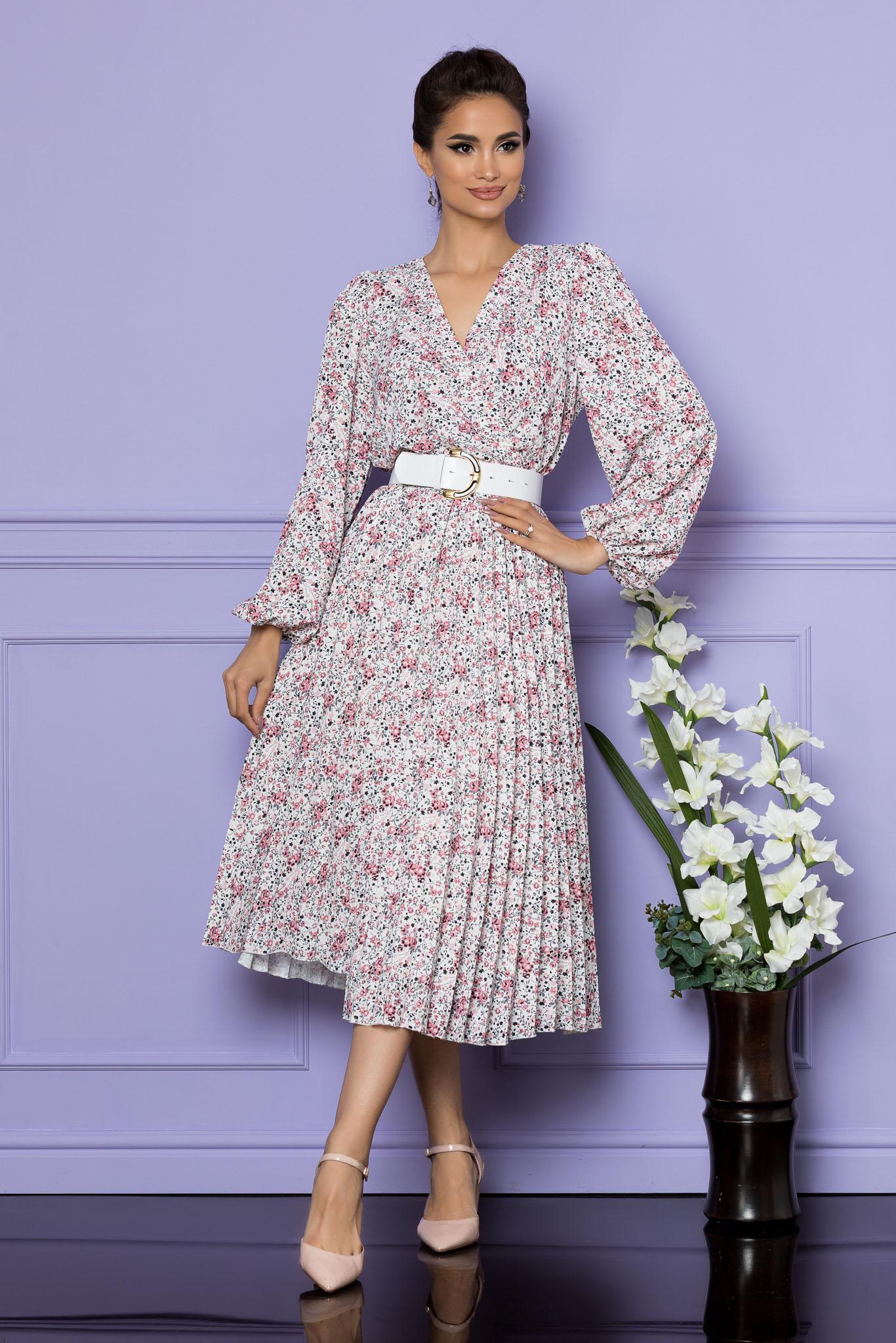 Rochie Malina Alb Roz Floral