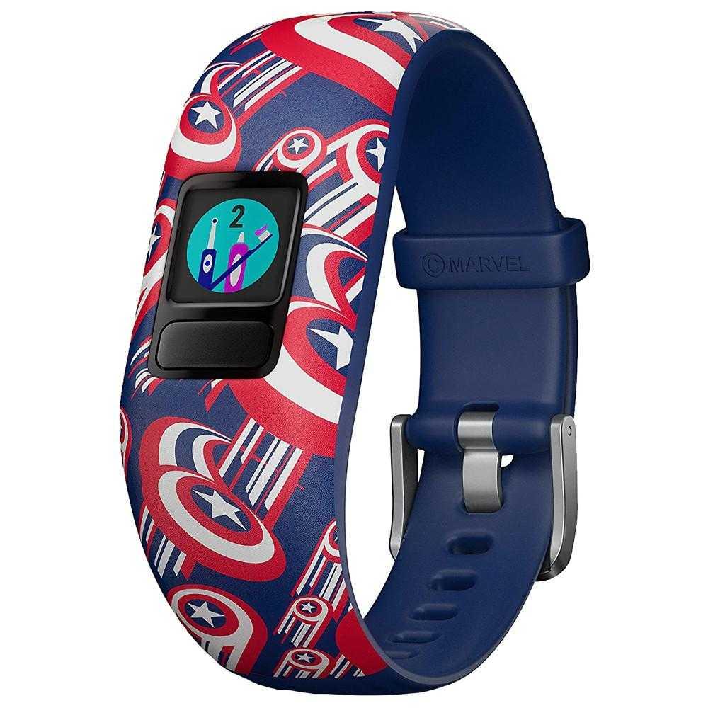 Smartband Garmin Vivofit Jr. 2, Bratara reglabila, Captain America, Albastru