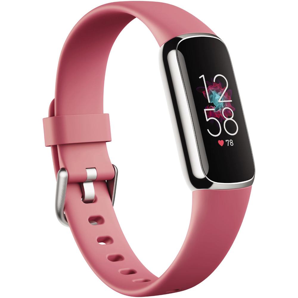 Smartband fitness Fitbit Luxe, Amoled, Autonomie pana la 5 zile, Rezistenta la apa, Platina/Orhidee